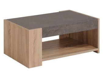 WHITE LABEL - table basse - stone - l 90 x l 59 x h 40 - bois - Table Basse Rectangulaire