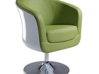 WHITE LABEL - fauteuil simili cuir vert - bear - l 71 x l 64 x h - Fauteuil Rotatif