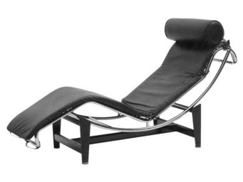 WHITE LABEL - chaise longue cuir noir - corbs - l 165 x l 58 x h - Chaise Longue