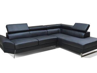 WHITE LABEL - canapé d'angle droite fixe venise cuir éco noir - Canapé Modulable