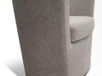 WHITE LABEL - fauteuil fixe bijou tissu tweed taupe - Fauteuil