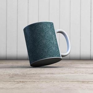 la Magie dans l'Image - mug plumes de paon grises - Mug