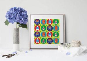 la Magie dans l'Image - print art héros pattern vert - Tableau Décoratif
