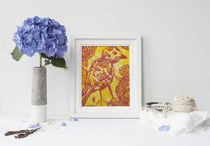 la Magie dans l'Image - print art oiseau batik jaune - Poster
