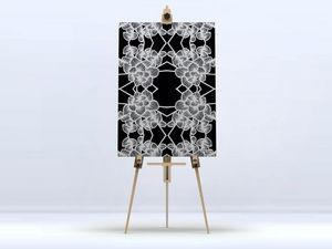 la Magie dans l'Image - toile graphic flowers black - Impression Numérique Sur Toile