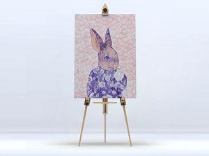 la Magie dans l'Image - toile mon petit lapin fond rose - Impression Numérique Sur Toile