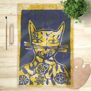 la Magie dans l'Image - foulard monsieur chat jaune - Foulard Carré