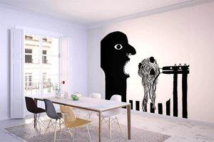 la Magie dans l'Image - grande fresque murale ogre spaghettis noir & blanc - Papier Peint Panoramique