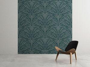 la Magie dans l'Image - grande fresque murale plumes de paon grises - Papier Peint Panoramique