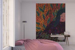 la Magie dans l'Image - grande fresque murale rêveuse aux cheveux verts - Papier Peint Panoramique