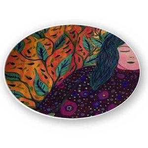 la Magie dans l'Image - assiette rêveuse aux cheveux verts - Assiette De Présentation