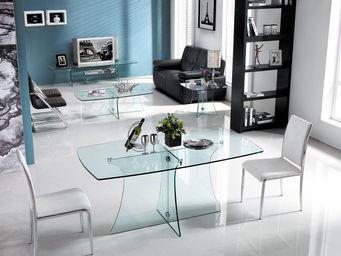 WHITE LABEL - table clara - transparent - Table De Repas Rectangulaire