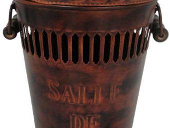 Antic Line Creations - poubelle salle de bain métal rouillé - Poubelle De Salle De Bains