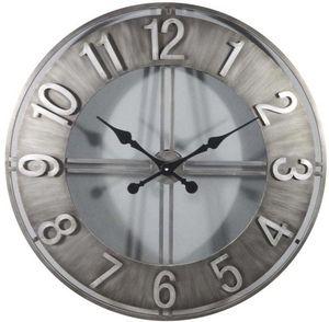 Aubry-Gaspard - horloge ronde en métal esprit aviateur - Horloge Murale