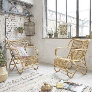 BOIS DESSUS BOIS DESSOUS - lot de 2 fauteuils en rotin cosy - Fauteuil