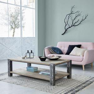 BOIS DESSUS BOIS DESSOUS - table basse en bois de pin recyclé et métal 140 vi - Table Basse Rectangulaire