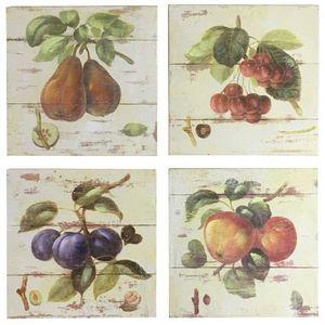 CHEMIN DE CAMPAGNE - 4 tableaux cadres en bois peint fruits 20,5x20,5 c - Tableau Décoratif