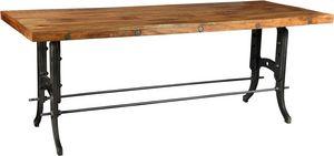 Antic Line Creations - grande table de ferme métal et bois - Table De Repas Rectangulaire
