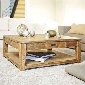BOIS DESSUS BOIS DESSOUS - table basse en bois de teck recyclé 100 cargo - Table Basse Carrée