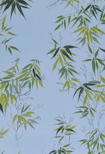 ISIDORE LEROY - bambous bleu - Papier Peint