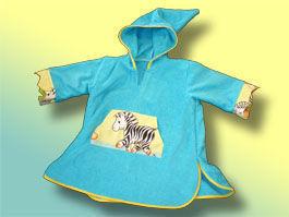 CréaFlo - poncho peignoir 2/5ans jungle bleu - Peignoir Enfant
