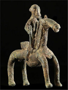 Arts Africains - cavalier et son cheval en bronze - Sculpture