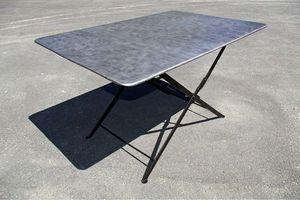 L'atelier tout metal - table métallique pliante en acier brossé vers 1930 - Table De Jardin Pliante