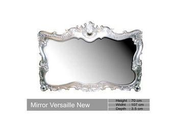 DECO PRIVE - miroir baroque en bois argente versailles deco pri - Miroir