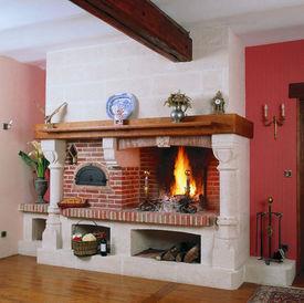 rotissi re chemin e foyer ouvert pierre naturelle. Black Bedroom Furniture Sets. Home Design Ideas