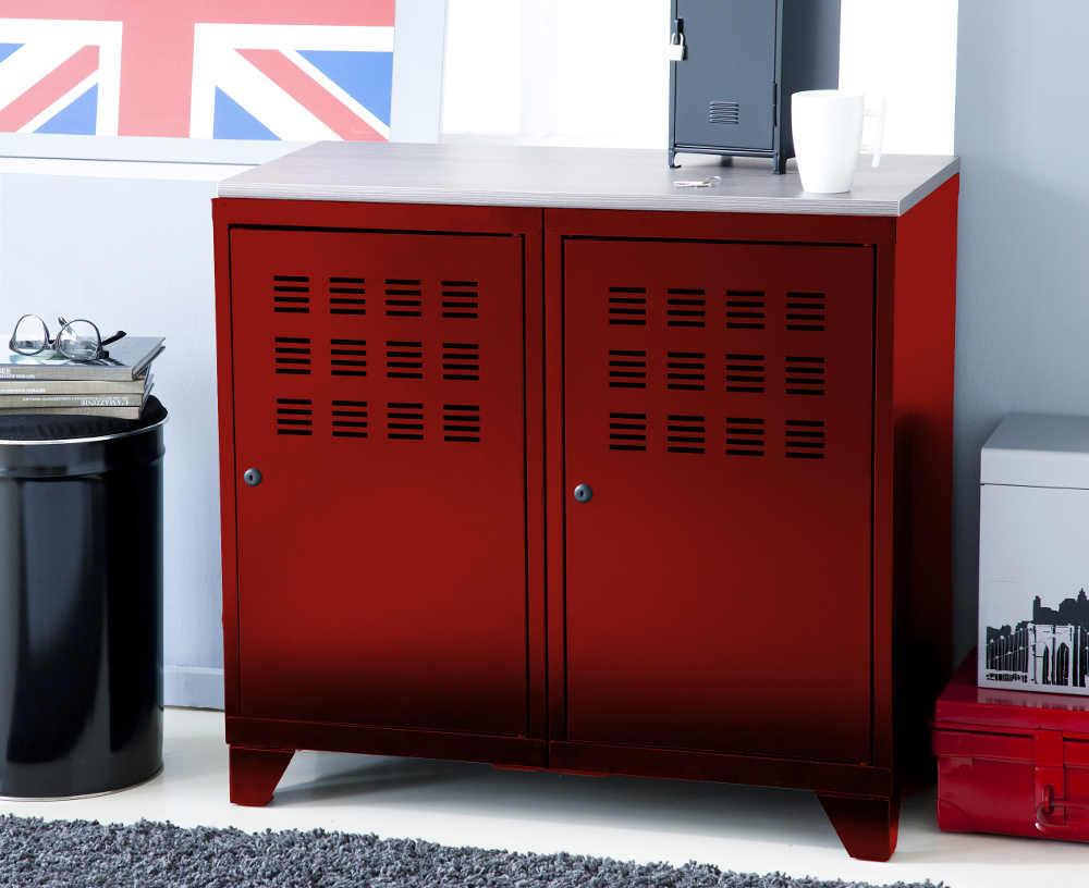 armoire de rangement m tal 2 portes rouge armoire de. Black Bedroom Furniture Sets. Home Design Ideas