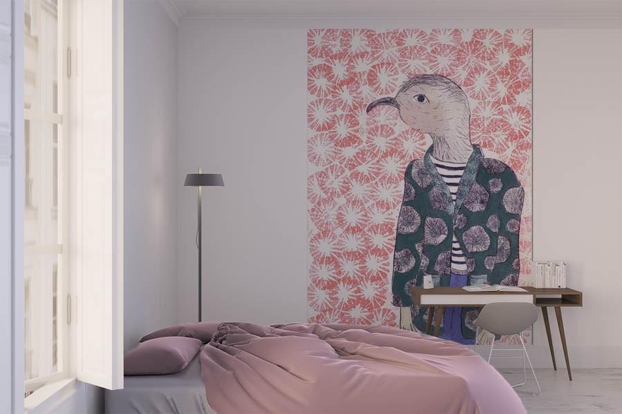 Grande Fresque Murale Mon Petit Oiseau Fond Rose Papier Peint