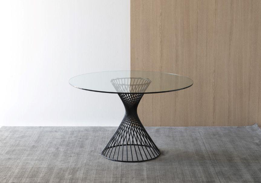 Vortex table de repas ronde transparent verre for Table de repas ronde