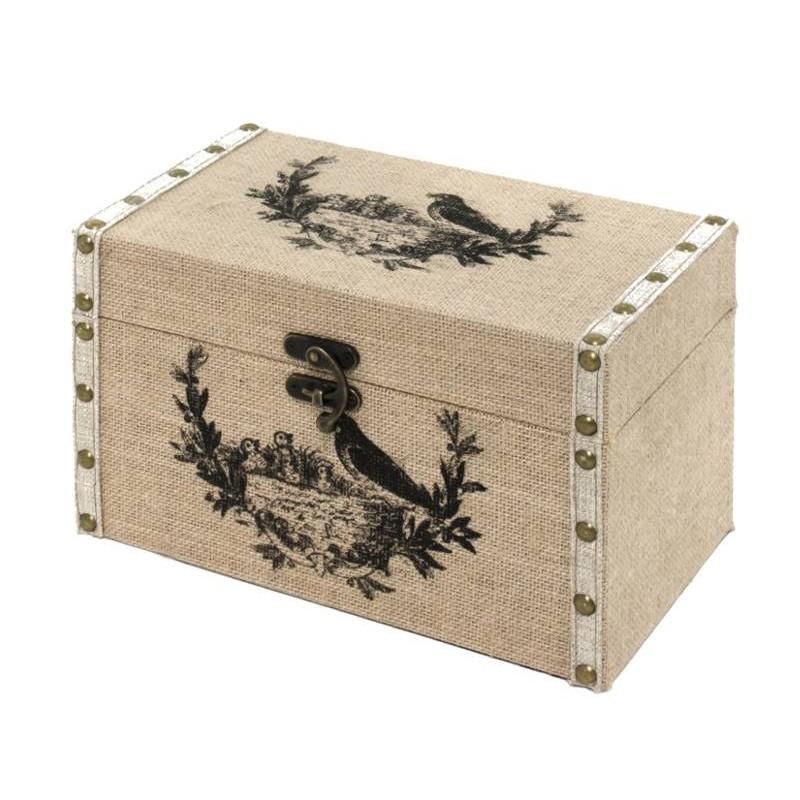 coffre malle de rangement bois toile de jute 28x17 malle blanc. Black Bedroom Furniture Sets. Home Design Ideas