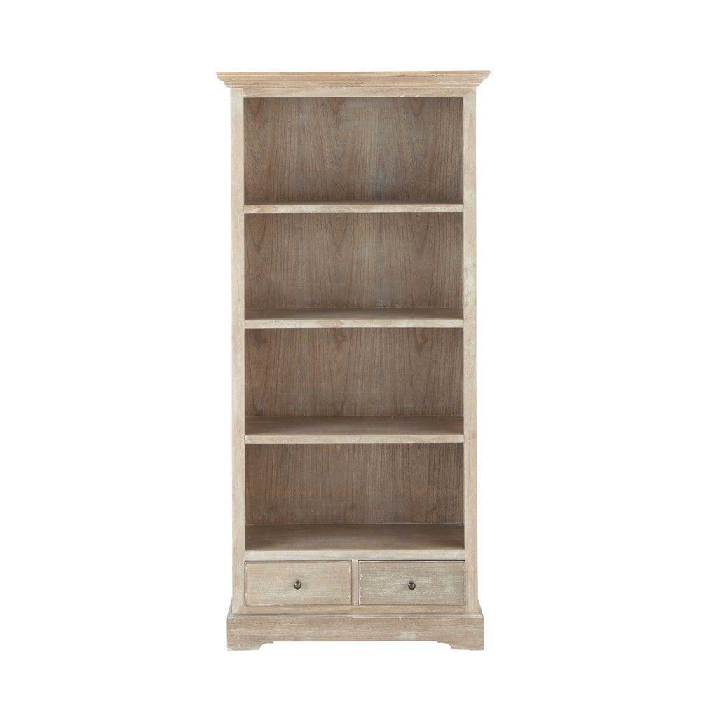 Bibliothèque en bois de paulownia grise L 85 cm ...
