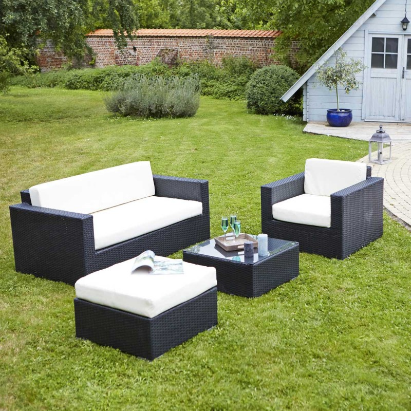 salon de jardin en r sine tress e nando noir salon de. Black Bedroom Furniture Sets. Home Design Ideas