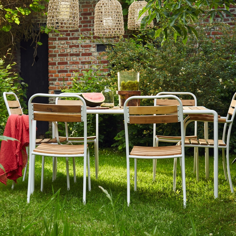 Salon de jardin en bois et métal FSC - Salle à manger de ...