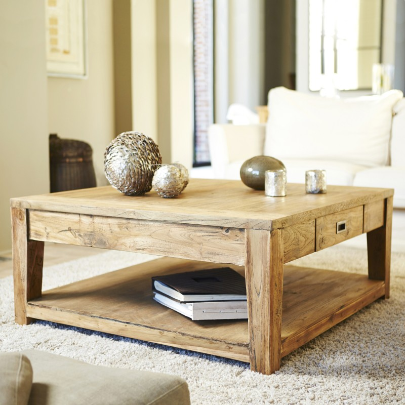 table basse en bois de teck recycl 100 cargo table. Black Bedroom Furniture Sets. Home Design Ideas