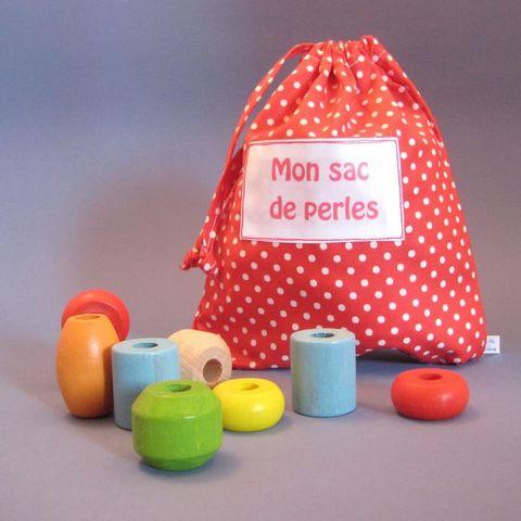 LITTLE BOHEME - Jouet en bois-LITTLE BOHEME-Sac de perles prénom enfant pois grenadine