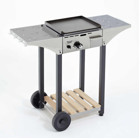 Roller Grill - Table roulante de jardin-Roller Grill-Desserte pour plancha 40cm en inox et bois