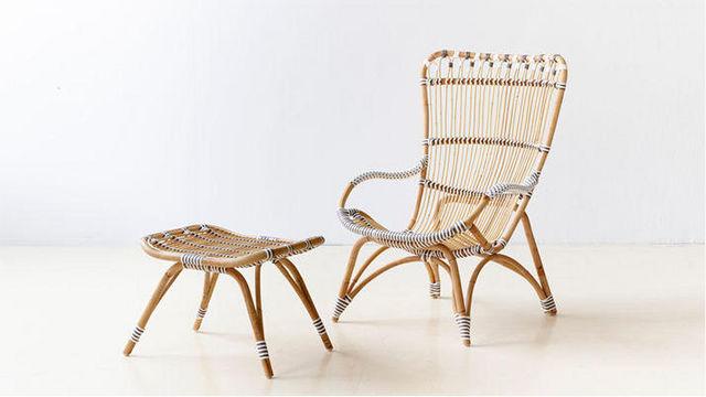 Sika design - Fauteuil de jardin-Sika design-Fauteuil avec Repose-pieds Chantal en Rotin et Fib