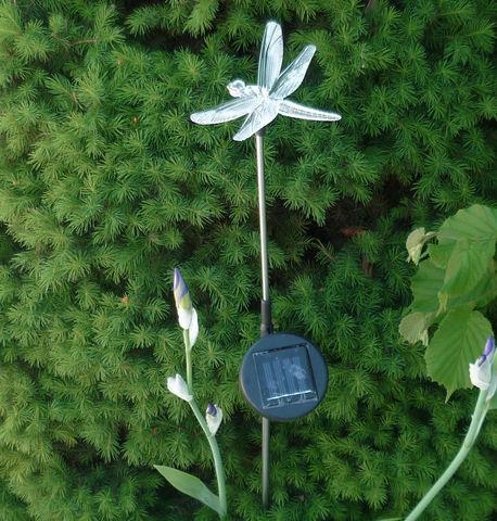 FEERIE SOLAIRE - Photophore pique jardin-FEERIE SOLAIRE-Pic solaire libellule lumineuse 5 couleurs 76cm