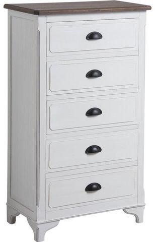 AUBRY GASPARD - Colonne de rangement simple de salle de bains-AUBRY GASPARD-Commode camelia 5 tiroirs en pin et medium 59,5x32