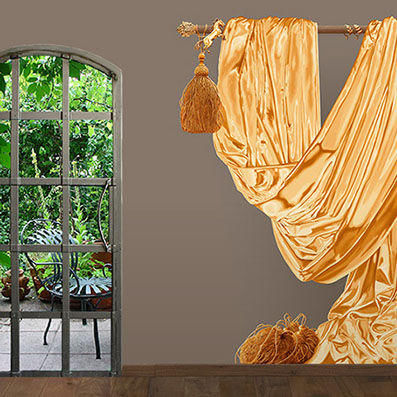 ATELIER MARETTE - Papier peint panoramique-ATELIER MARETTE-Daperie OR, GOLD
