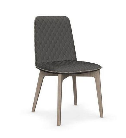 Calligaris - Chaise-Calligaris-Chaise SAMI en bois naturel et tissu gris foncé de