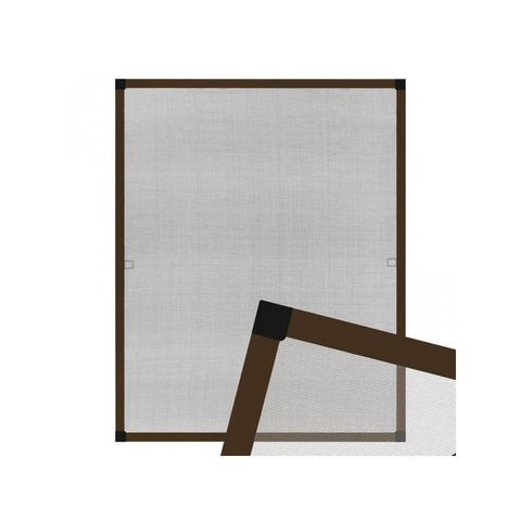 WHITE LABEL - Moustiquaire de fenêtre-WHITE LABEL-Moustiquaire pour fenêtre cadre fixe en aluminium 80x100 cm brun