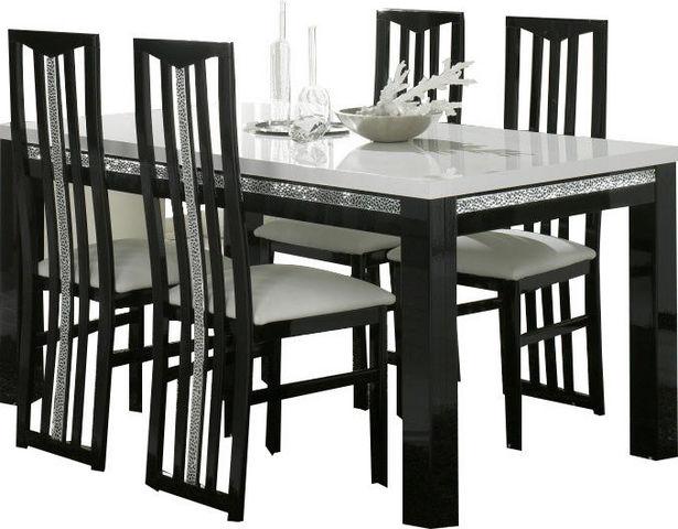 COMFORIUM - Salle à manger-COMFORIUM-Table à manger 190cm + 4 chaises noires et blanche