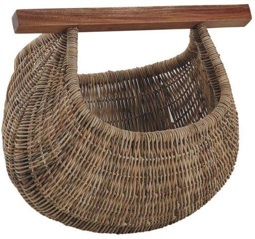 Aubry-Gaspard - Panier de pêcheur-Aubry-Gaspard-Panier à coquillages en rotin et bois