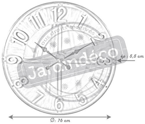 Aubry-Gaspard - Horloge murale-Aubry-Gaspard-Horloge ronde en métal esprit aviateur