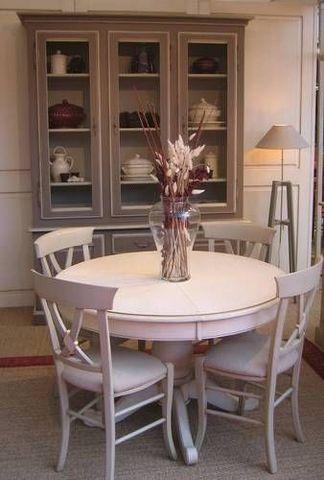 Coup De Soleil - Table de repas ronde-Coup De Soleil-SAINT-REMY pied central et chaises CARLA