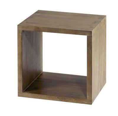MEUBLES ZAGO - Bout de canapé-MEUBLES ZAGO-Cube 1 niche teck grisé cosmos